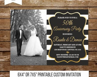 50 wedding anniversary invitation gold anniversary party 50th anniversary 40th black and white wedding surprise party invite printable 213