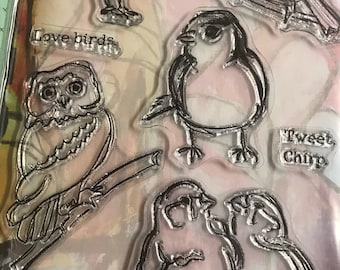 Ranger Dina Wakley Clear Planning Stamps and Stencil Kit - Little Birdies - 5''x7'' Mixed Media Stamps/Happy Mail/Journal Stamps
