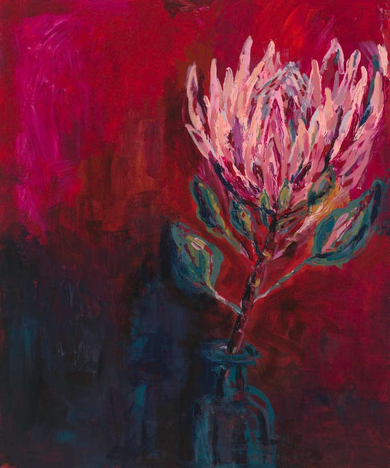 King Protea Painting Archival Limited Edition Wall Art Print