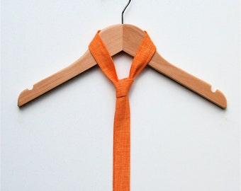Skinny Tie - Orange sketch print