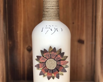 Tin and Twine metal flower whiskey bottle chalk painted