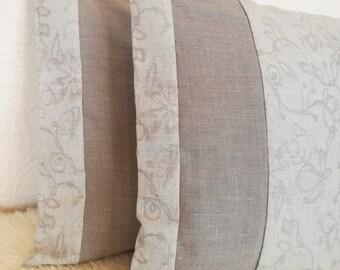 Light Grey Linen Pillow Cover Set of 2 - Jacquard Linen Throw Pillow - Linen Decorative Pillow - Natural Linen Throw Pillow -Grey Linen Sham