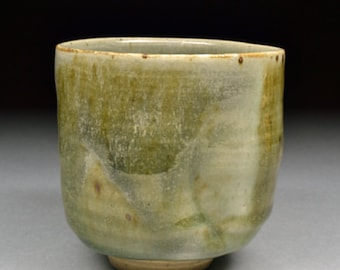 Unique Subtle Handmade Stoneware Yunomi glazed with Celadon, fired in reduction with a trace of Carbon Trapping