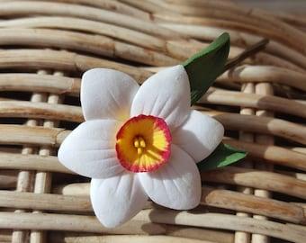 Daffodil air-dry deco clay flower hair pin
