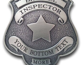 """Custom Engraved """"BROTHEL INSPECTOR"""" Badge with Your City and State"""