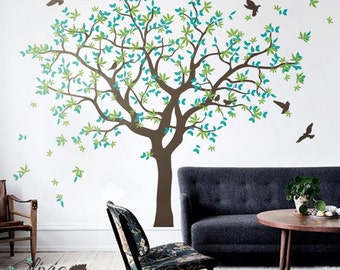 Large family Tree vinyl decal with bird stickers, nature wall mural -NT040