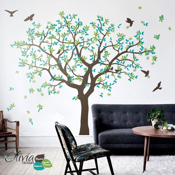Large Family Tree Vinyl Decal With Bird Stickers Nature Wall