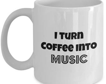 Musician Coffee Tea Mug | Gift for Piano Player | Guitar player Mug | Keyboard Playing Coffee Lover