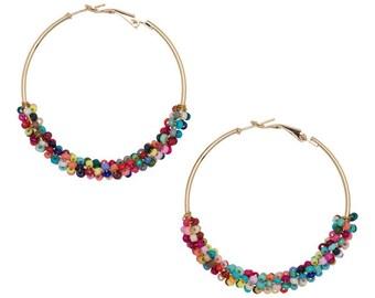 Seed Bead Hoop Earrings