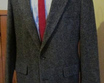 Vintage HAGGAR TWEED JACKET, Mens Blazer, Sports Coat, Suit Jacket, Size 42 Regular Multi Colored Blues & Grey, Traditional 3/2 Styling