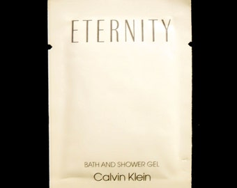 Vintage 1980s Eternity by Calvin Klein 0.25 oz Perfumed Bath and Shower Gel Sample Packet