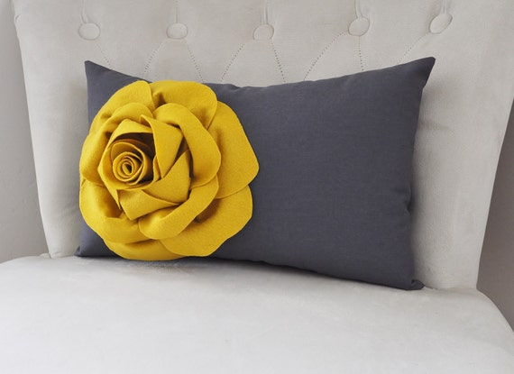 Grey And Mustard Yellow Rose Flower. Charcoal Gray Home Decor