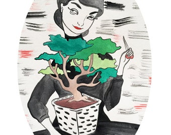 Bonsai Girl Oval 8x10 print