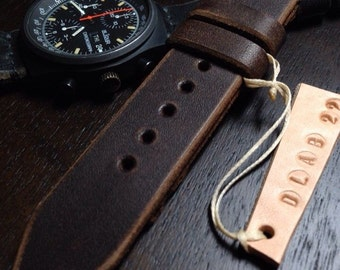22mm Handmade Dk Brown Genuine Leather Watch Band / Strap