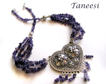 Heart Necklace Silver Tribal Jewelry Amethyst string Indian Ethnic Jewellery Valentines Day Jewelry by Taneesi