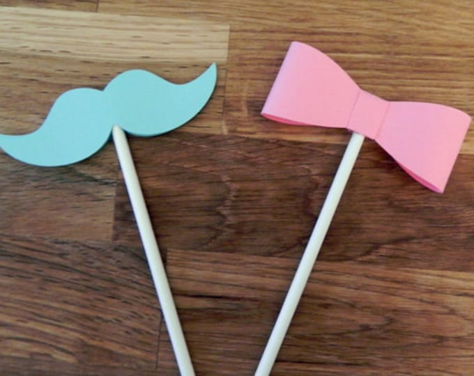 Cupcake Toppers: Gender Reveal Little Man or Little Miss Baby Shower - Die Cut Pink Girl Bow & Blue Boy Mustaches