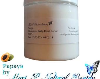 Papaya Moisturizer Body and Hand Lotion 8 Oz Paraben and Fomaldehyde Free *Vegan*