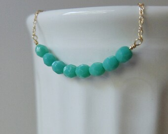 Audrey (Turquoise) - simple & sparkly beaded bar necklace