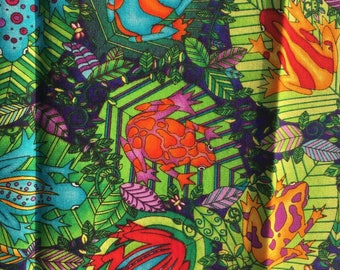 Vintage Cotton Fabric patch frogs bright green multicolour frog  jungle animal -bright pattern retro material
