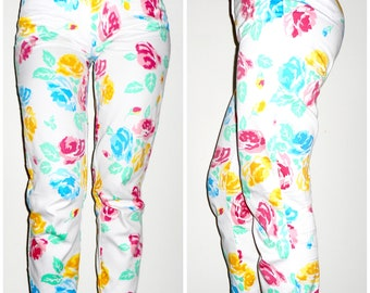 80s Floral Pants, White, Pink, Blue, Yellow, Tight High Waist Pants, Cotton, Skinny Jeans with Print, Summer Clothes