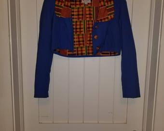 Blue African Print Crop Jacket