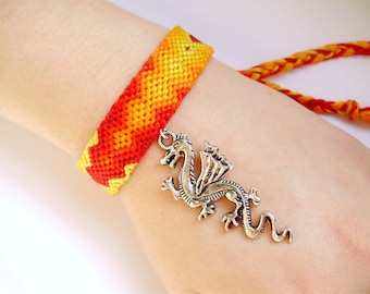 Dragon Flame Friendship Bracelet - Handmade Ombre Jewelry - Sale