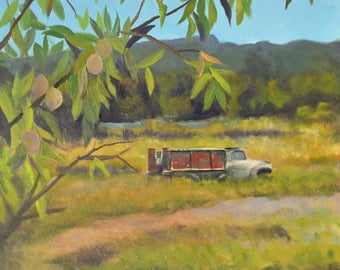 Original landscape oil painting fine art paintings old truck landscape painting original oil painting rural painting mountain meadow artwork