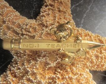 Gold Tone No 1 Teacher Pin Brooch Favorite Teacher Gift