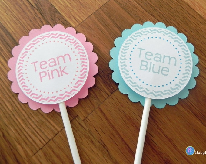 Cupcake Toppers: Gender Reveal Team Pink or Team Blue Baby Shower - Party Pink Girl & Blue Boy Chevron