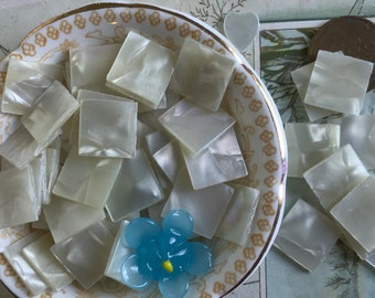 Vintage Faux MOP square Cabochons, square Cabochons, MOP embellishments, Looks Like Mother Of Pearl, #B225D