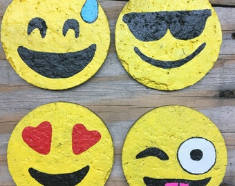 Emoji Coasters- Hand painted emoji coasters