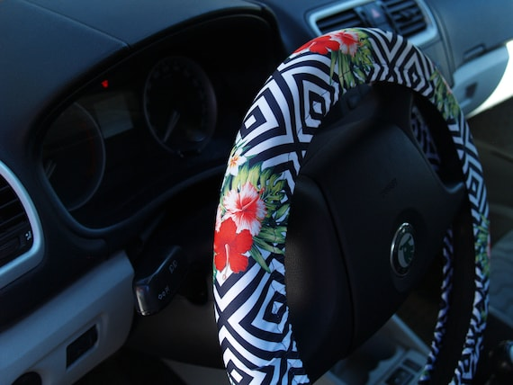 Steering wheel cover Floral Car accessory for woman Cool gift