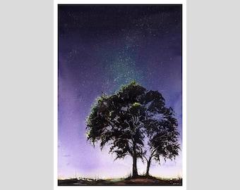 NIGHT SKY PRINT - landscape painting, galaxy art, galaxy painting, night landscape, tree painting, tree silhouette, universe painting