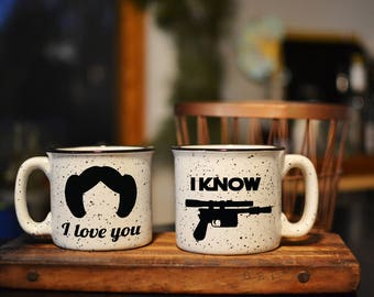 I Love You // I know Ceramic Camping Mug Set