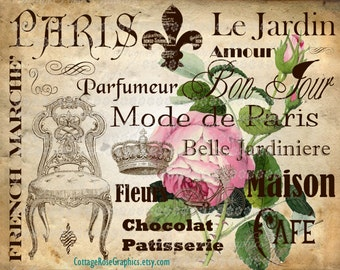 Vintage Paris subway words LARGE format digital image download French pink roses Buy 3 Get one Free