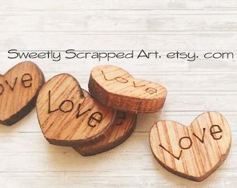 10 Wooden Heart Love Embellishments / Wooden Heart/ Scrapbook Embellishments/ Wooden Embellishments/ Love Embellishments/ Wedding Confetti