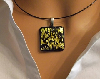 Dichroic Glass Pendant Color Shifting Gold Tiger Stripe 3DP22C - DuneGlass - Always FREE Shipping In The USA