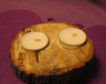 RUSTIC WOODEN CANDLE Holder  With 2 Candles