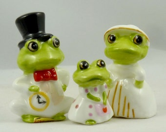 Vintage Family of three Bone China Frogs Figurines Miniature Porcelain Frogs