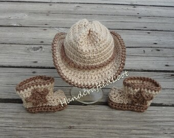 Newborn Baby Cowboy Hat & Boots Photo Prop Set Outfit Baby Shower Gift Cowgirl Crochet Keepsake