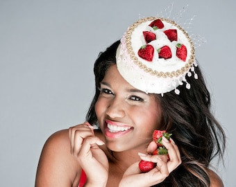 DESTASH SALE Strawberry Shortcake Pillbox Hat burlesque OOAK