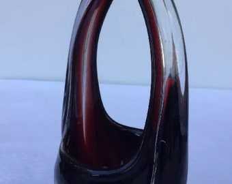 """Vintage Murano Art Glass Purse Vase Art Deco Deep Ruby Red Cut To Clear 10"""""""