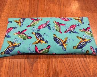 Aromatherapy eye pillow/bag - yoga-relaxation-meditation-sleep-washable cover-savasana-hot/cold pack-organic lavender/peppermint turtles