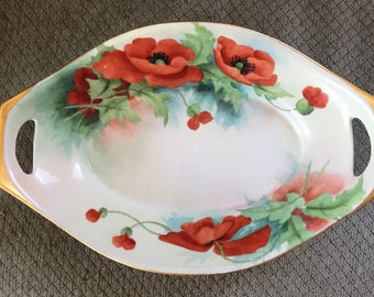 Rare Villa Madonna College (now Thomas More) Painted Poppies Serving Dish