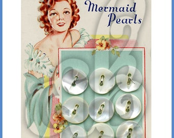 Mermaid Mother-of-Pearl Button Card INSTANT DOWNLOAD