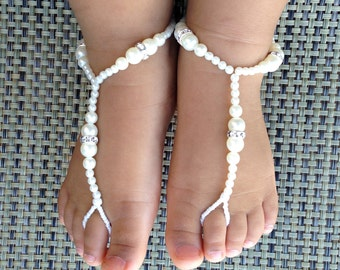 Baby Bridal Barefoot Sandals, Flower Girl Barefoot Sandals, Christening Sandals, Baby Shower Gift, Kids Barefoot Sandals, Baptism Sandals