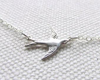 Dainty Bird Bracelet Silver Delicate Modern Stacking Bracelet Layering Minimalist Little Bird