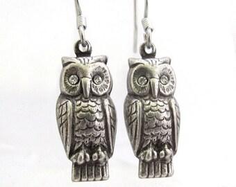 Owl Earrings, Rhinestone Owl Earrings, Antiqued Silver Plated, Bird Watcher, Bird Earrings, Petite Dangle Earrings, Made in USA