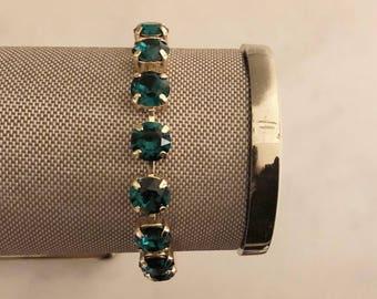 Emerald + Gold Handmade Swarovski Crystal Bracelet, Wedding Jewelry, Green Bracelet, Bridesmaid Jewelry