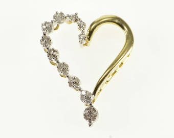 10k Two Tone Diamond Encrusted Heart Pendant Gold